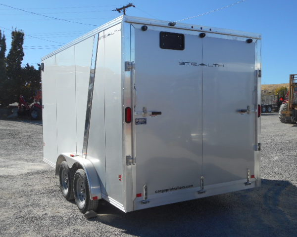 2018 Cargo Pro 7.5'x14' Stealth V Nose Trailer Closed Rear Ramp Door Side View