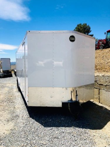 Pre-Owned Wells Cargo 24′ Enclosed Trailer Front Passanger Side View – Copy