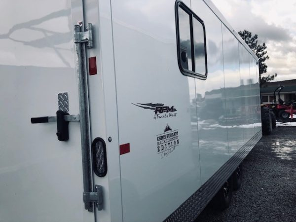 2019 Trails West 28′ RPM Gooseneck Trailer Back Passanger Side View