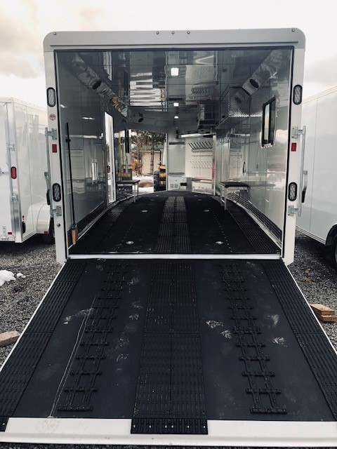 2019 Trails West 28′ RPM Gooseneck Trailer Back Side Open View