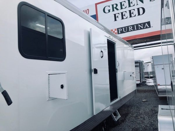 2019 Trails West 28′ RPM Gooseneck Trailer Front Driverside Doors Open View