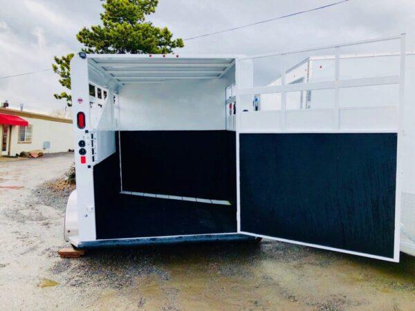 2018 Trails West 12′ Adventure II 2 Horse Trailer Backside View Door Open UnLocked Stalls