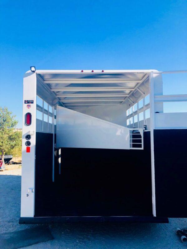 2019 Trails West 15′ Adventure II 3 Horse Back Side View Door Open
