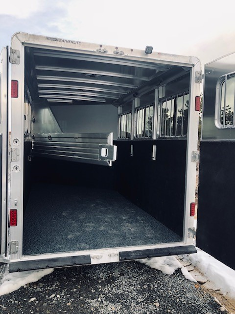 2019 Featherlite 9409 3 Horse Trailer Back Side Inside View