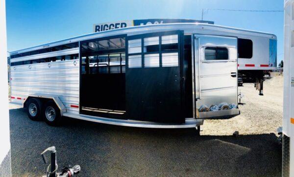 2019 Logan Stock Combo 21′ GN Trailer Side View Tac Room and Esc Door Open