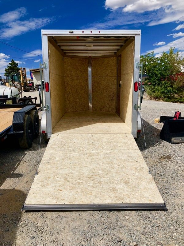 2019 Cargo Pro 10′ Enclosed Trailer Backside Ramp Down View