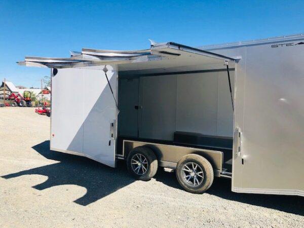 2019 Cargo Pro 20′ Enclosed Car Hauler Trailer Back Driver Side Open Close up View