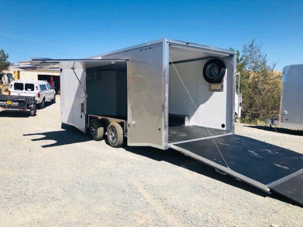 2019 Cargo Pro 20′ Enclosed Car Hauler Trailer Back Driver Side Open View