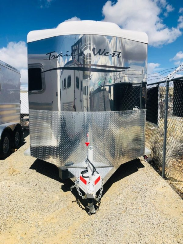 2018 Trails West Santa Fe II 15′ BP Stock Trailer Front View
