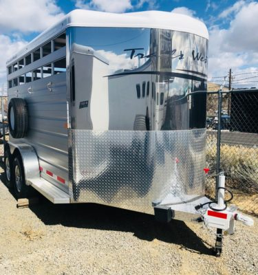 2018 Trails West Santa Fe II 15′ BP Stock Trailer Right Front Angle View