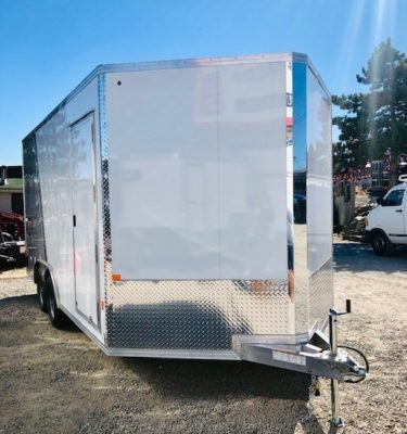 Cargo Pro 16′ Eclosed Featherlite Trailer Front Passanger Side View