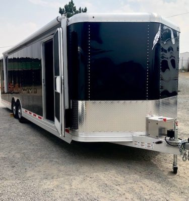2016 FEATHERLITE 4926 28' Enclosed Car Hauler Trailer Front Passanger Side View
