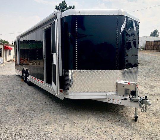 2016 FEATHERLITE 4926 28' Enclosed Car Hauler Trailer Front Passanger Side View