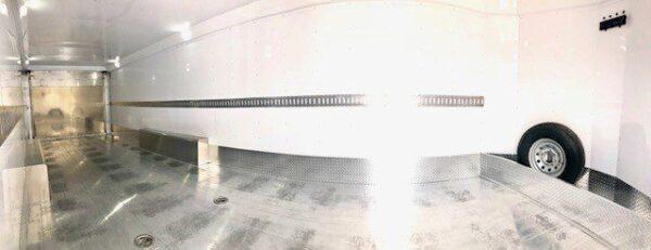2016 FEATHERLITE 4926 28' Enclosed Car Hauler Trailer Inside Closeup Panorama View 2