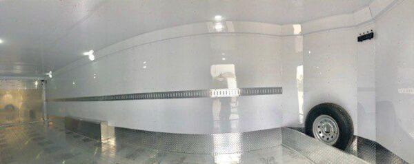 2016 FEATHERLITE 4926 28' Enclosed Car Hauler Trailer Inside Closeup Panorama View