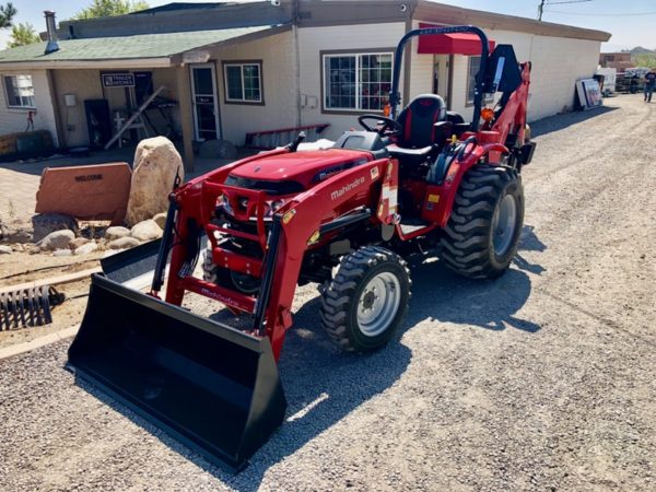2018 Mahindra 1626 Tractor Loader Backhoe Front Driverside View Loader Down