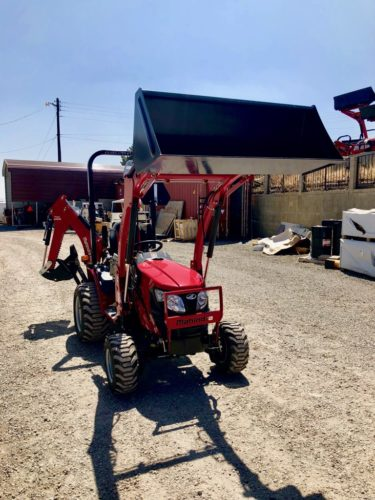 2018 Mahindra Emax L 22 Tractor Loader Backhoe Front Passanger Side View Loader Up
