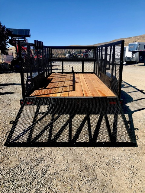 Big Tex 14′ Landscape Utility Trailer Back View Ramp Down