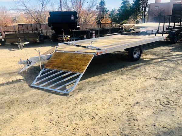 SnoPro 12′ Open Snow Mobile Trailer Front Driver Side View