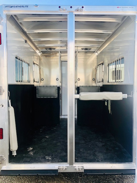 2020 Featherlite 7442 2H Straight Load Trailer Back Inside View