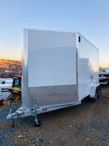 2016 Alcom C7X14 VNose Enclosed Trailer Front Driver side view