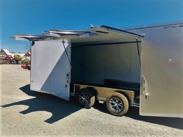 24′ Enclosed Car Hauler Trailer Back Driver Side Open Close up View