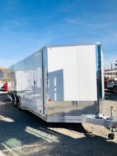 24′ Enclosed Car Hauler Trailer Front Passanger Side View